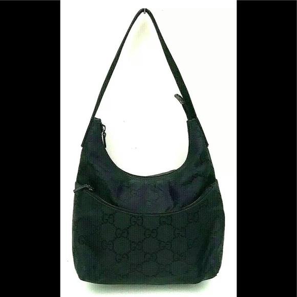 Gucci Handbags - GUCCI GG LOGO NYLON LEATHER SHOULDER BAG HANDBAG